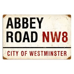 Reproduction Abbey Road metal sign